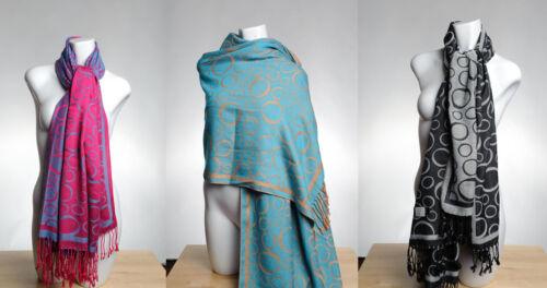Black Hot Pink Aqua Elegant Double Side Circles Ladies Pashmina Wool Scarf Wrap