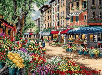 "Dimensions Gold Collection PARIS MARKET Counted Cross Stitch Kit 15"" x 11"""