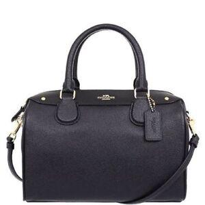 e317e63a3fef Coach Mini Bennett Satchel Crossgrain Leather Handbag Black - F57521 ...