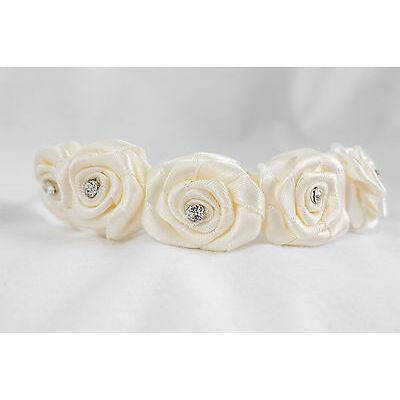 Girl's Diamante Flower Headband Flower Girl Christening in White, Cream or Multi