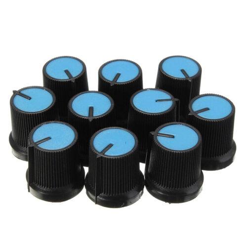2I 10PCS Drehknopf Potentiometer kunststoff Drehknopf 6mm Blau J1G9