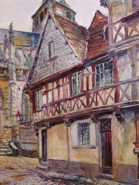 Oil on Panel, Dated 1929 and Signed View Gueugnon Burgundy-Franche-Comté