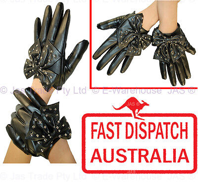 Punk Rock Goth  Lady Gaga Costume Party Gloves Man Made Leather Studded BOW