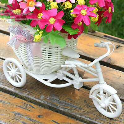 Plastic White Bike Design Flower Basket Storage Plant Party Decoration