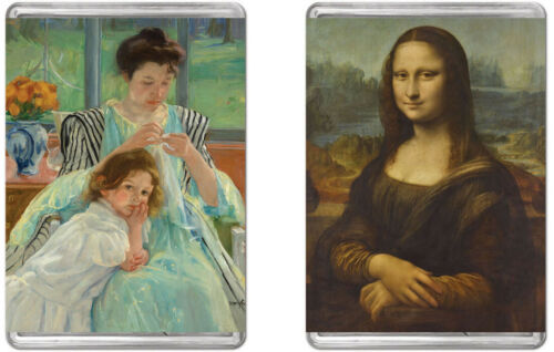 Young Mother Sewing and The Mona Lisa MiniPix Bundle of 2 Puzzles