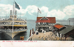 Landing-of-The-Albany-Kingston-Point-New-York-Early-Postcard-Unused