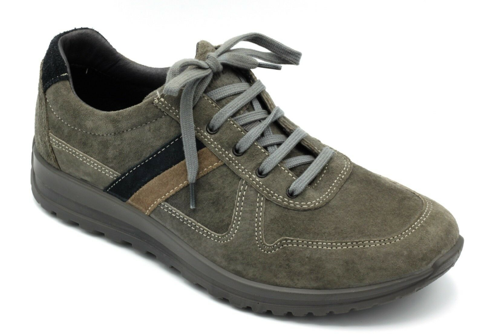 GRI SPORT shoes men CASUAL TEMPO LIBERO ALLACCIATE NABUK color grey   43