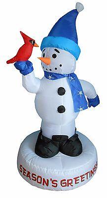 4 Foot Christmas Inflatable Snowman with Bird Yard Garden Outdoor Art Decoration