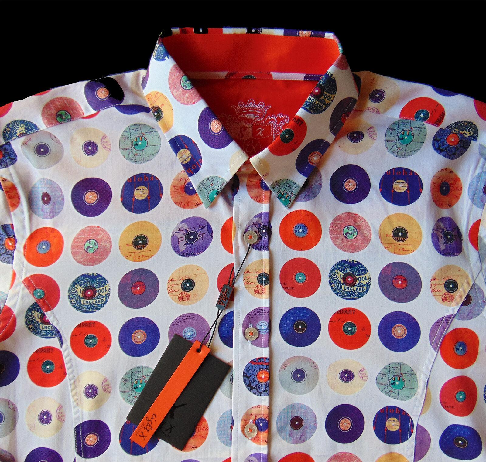 Men's EIGHT X 8X PREMIUM colors Circles Records Shirt Small S NEW NWT Slim Fit