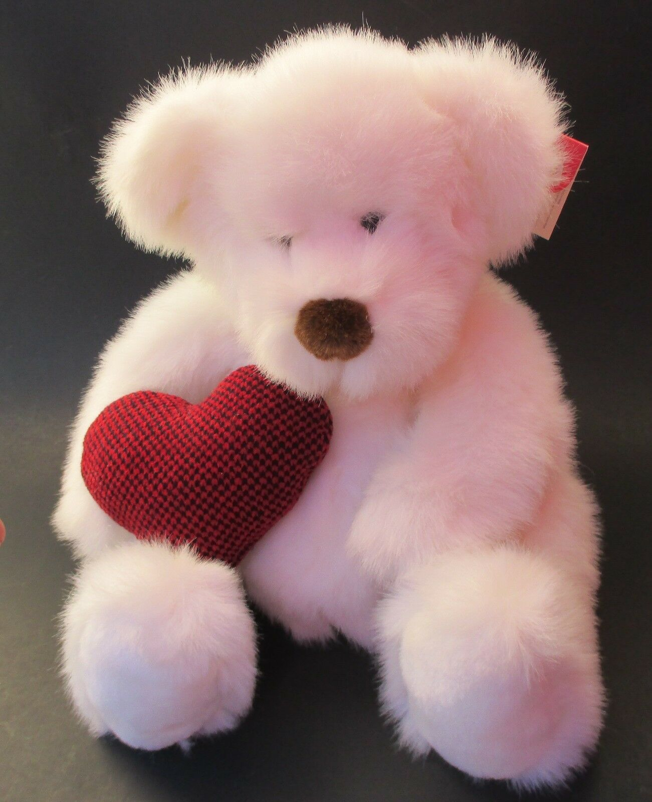 Rb2 large Weiß BEAR HUGS heart pillow RUSS BERRIE PLUSH Teddy Bear love