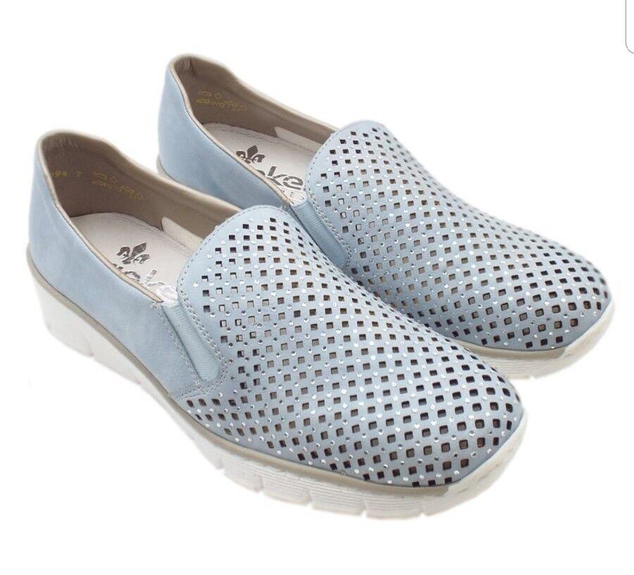 Rieker 537A6-10 Eastside Modern Summer Loafers in Sky Blue Size EU 38