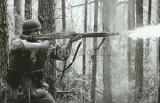 WW2 Picture Photo German Paratrooper Firing a Machine Gun 3312