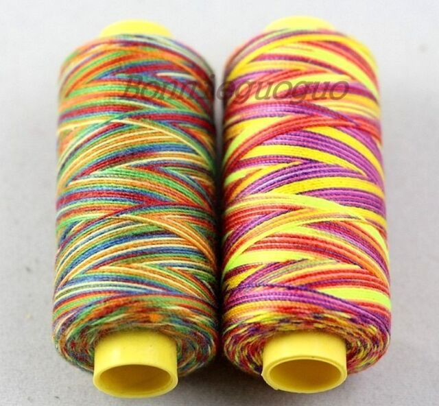2X 150Yards/Spool Sewing Nylon Thread Rainbow Colour F Hand Quilting Embroidery