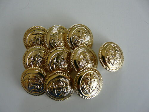 10 x GOLD COLOURED METAL ANCHOR BUTTONS SIZE 24 14mm
