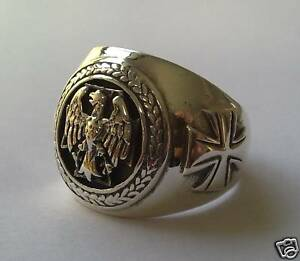 SOLID-STERLING-SILVER-925-GERMAN-EAGLE-CROSS-RING