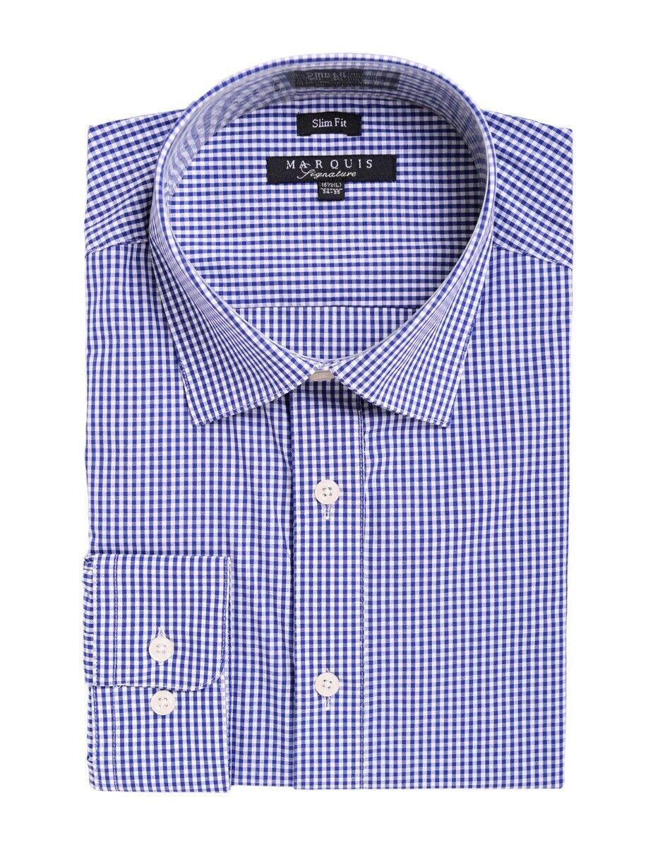 Marquis Slim Fit Blau und Weiß Mini Kariertes Kleid Hemd