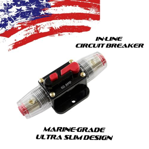 CAR STEREO AUDIO 12V CIRCUIT BREAKER FUSE INLINE FITS 4 8 GAUGE WIRE 60A AMP US