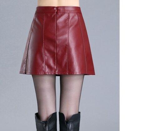 Rock mini kurz simil Leder rot élégant Falten Event Mode G160