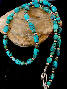 Navajo-Sterling-Silver-Blue-SpiderWeb-Turquoise-Faceted-Bead-Necklace-20in-195