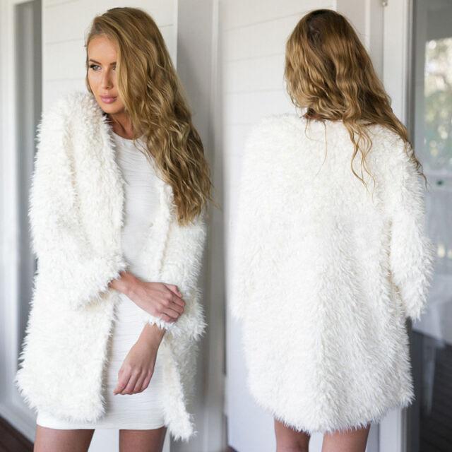 Women Faux Fur Loose Tops Sweater Long Sleeve Cardigan Outwear Coat Jacket Hot