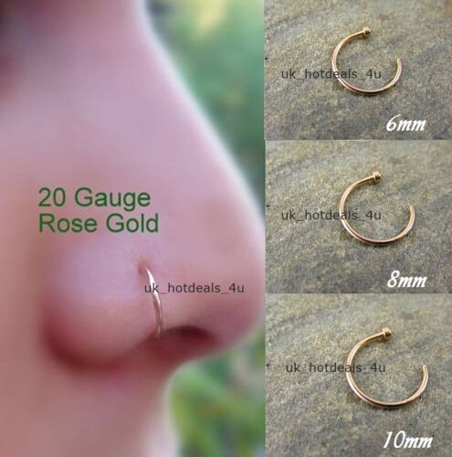 Extra Small Rose Gold Open Nose Ring Hoop 0.6mm Cartilage Piercing Helix Ring