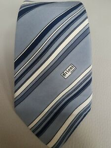 Vintage-Brioni-Blue-Grey-Logo-Striped-Silk-Tie-Made-in-Italy