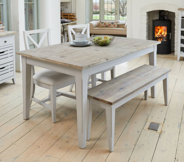 Signature Grey Painted Furniture Extending Dining Table Two Chairs And Bench Set For Sale Online Ebay