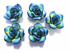 10 Fimo Polymer Clay Fimo Black Turquoise Yellow Flower Rose Fimo Beads 30mm
