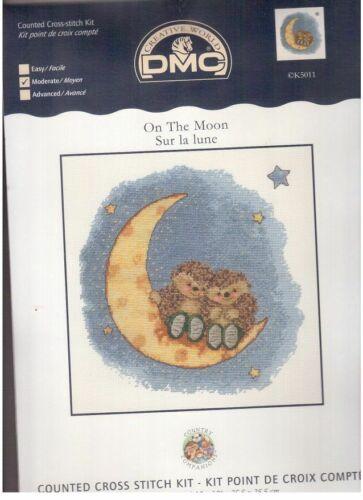 Country Companions On The Moon Cross Stitch Kit Hedgehogs DMC K5011