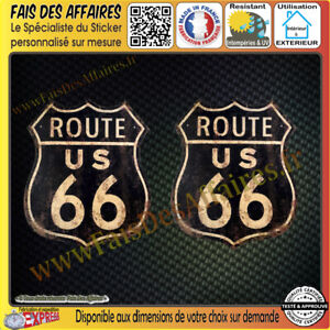 2-Stickers-Autocollant-adhesif-route-66-deco-Harley-auto-casque-moto-old-school