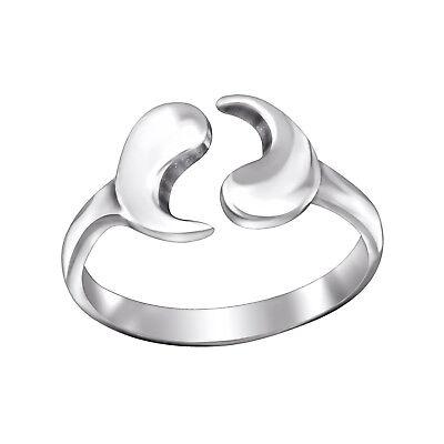 TJS 925 Sterling Silver Peace Symbol Sign Design Toe Ring Adjustable Jewellery