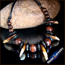 Tibetan tribal jewelry natural wolf teeth wood beads Leather necklace G104