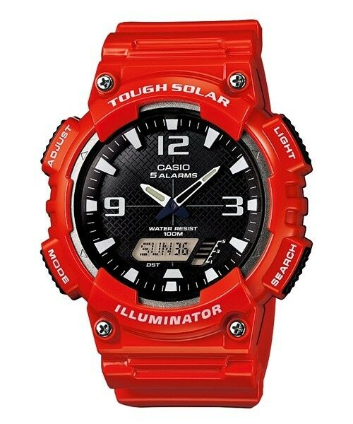 AQ-S810WC-4A RED Casio Men's Watch Tough Solar 5 Alarms Analog Digital Resin New