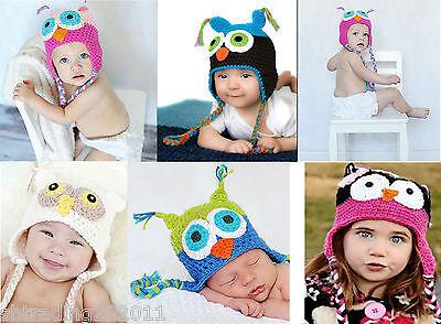 Cute Owl Crochet Knit Baby/Infant/Toddler Girls Boys Caps Beanie Ear Hats