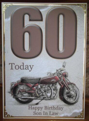 HANDMADE PERSONALISED MEN/'S VINTAGE 60th BIRTHDAY CARD SKETCHED MOTORBIKE DESIGN