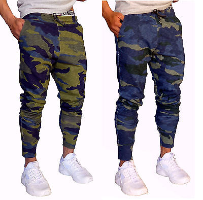 139e6ac2 Details about MENS CUFF PANTS CAMO COTTON SKINNY TAPERED LEG JOGGERS  TRACKIES CUFFED ARMY GYM