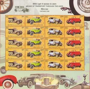 Details about India 2017 MNH Means of Transport through the ages VINTAGE  CARS 20 Stamps