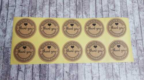 50 Brown Thank You Stickers BULK Hand Made With Love Labels Round Business Craft