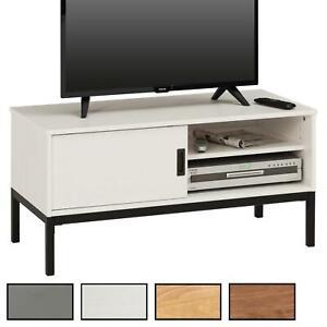 meilleur service f2a91 b87ea Détails sur Meuble banc TV style industriel avec 1 porte coulissante en pin  massif