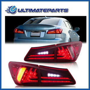 Pair-Red-Rear-Lamps-LED-Tail-Lights-Turn-Fog-Brake-For-06-12-Lexus-IS350-IS250