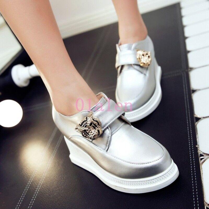 2019 Lady's Round Toe High Wedge Heel Pumps Platform Oxfords shoes Stylish Slive