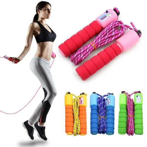 Fitness Adjustable Kids Adult Counting Jump Skipping Rope With Counter Indoor ^