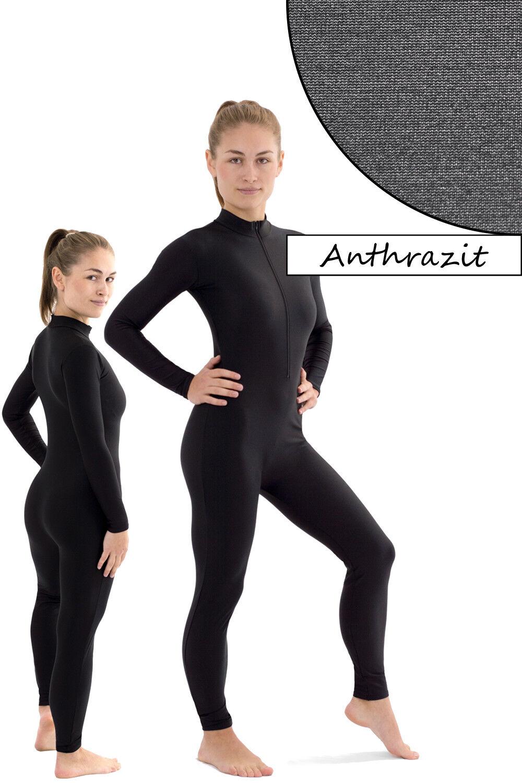 Damen Ganzanzug Front-RV Anthrazit Sport Voltigieranzug stretch elastisch shiny
