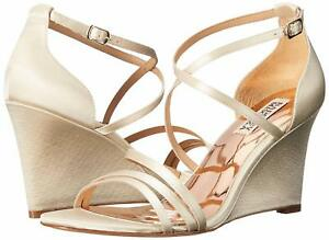 60c34309ab71 Badgley Mischka Women s Bonanza Wedge Sandal - Ivory Satin - Size 9 ...