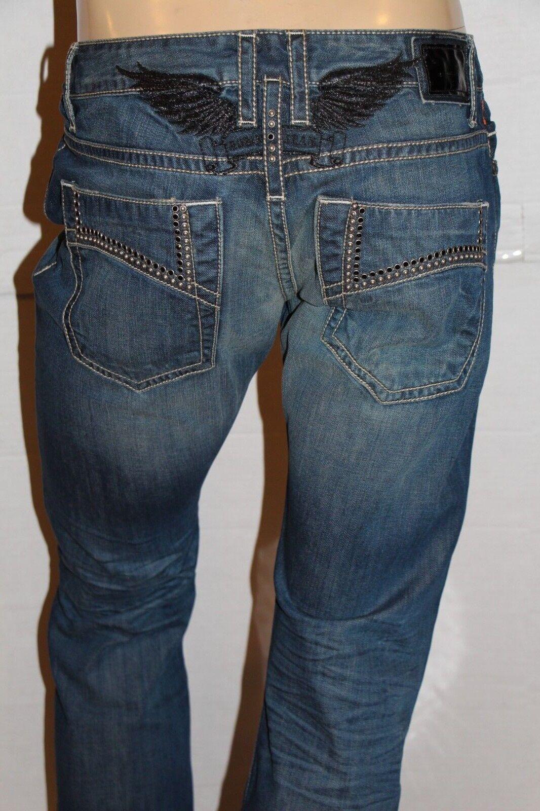 Neu Herren ROTKEHLCHEN Jeans Größe 38  D5471BLK Gerades Bein -blk Sw & Silbernen