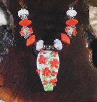Lgl Handmade Lampwork Beads - Red Snow Roses Nc1311- Sra - Craft - Flowe