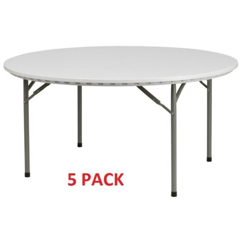 Details About 5 Pack 60 Round Commercial Quality Plastic Folding Tables Banquet Tables