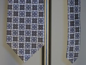 Geoffrey-Beene-Silk-Neck-Tie-Silver-Off-White-Mens-New