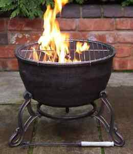 Image Is Loading Elidir Cast Iron Fire Bowl Amp Bbq Grill