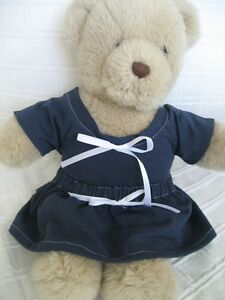 Teddy-Bear-Clothes-Handmade-Roni-Navy-Jersey-School-Style-Skirt-amp-Top